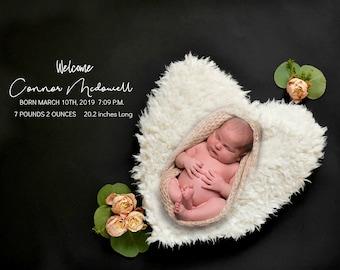 Birth Stats Announcement - Newborn Photography
