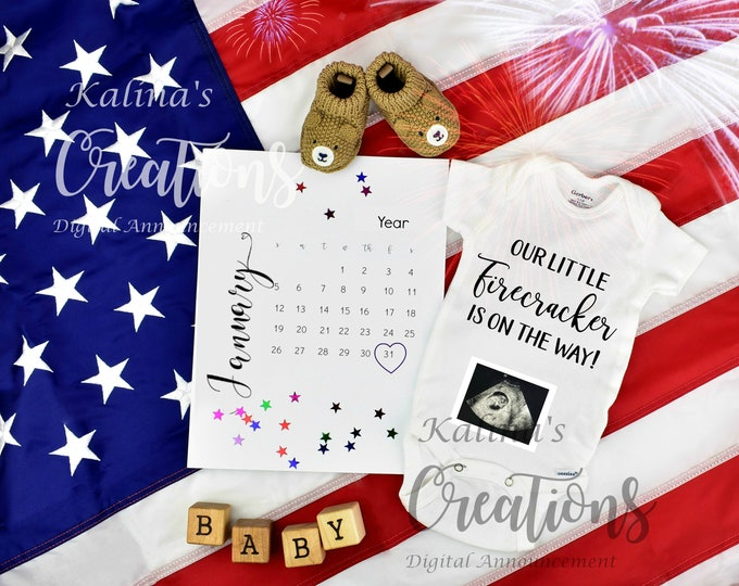 Pregnancy Announcement 4th of July Baby / Patriotic for Social Media Announce