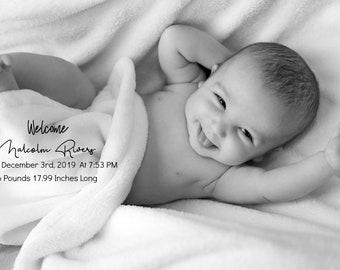 Birth Announcement Card - Photo Announcement Printable