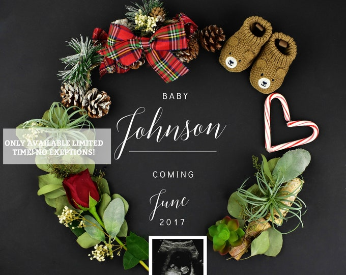 Featured listing image: Christmas Pregnancy Announcement for Social Media