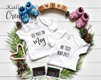 Twin Pregnancy Announcement - Boy Girl Gender Reveal for Social Media Announce