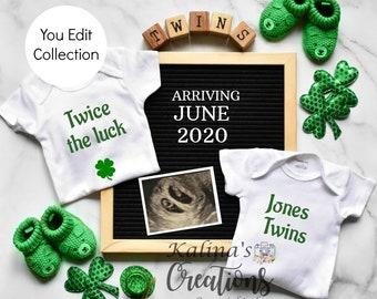 St. Patrick's Twins Pregnancy Announcement for Social Media Announce