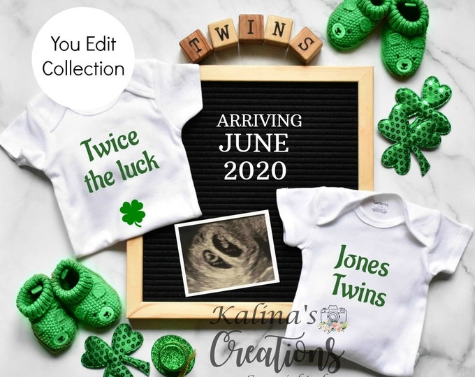 St. Patrick's Twins Pregnancy Announcement for Social Media Announce