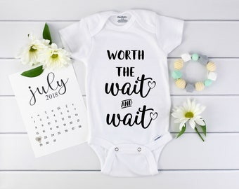 Worth The Wait Onesie / IVF / baby announcement / Infertility  / Pregnancy Reveal / expecting / organic / announce pregnancy / grandparents