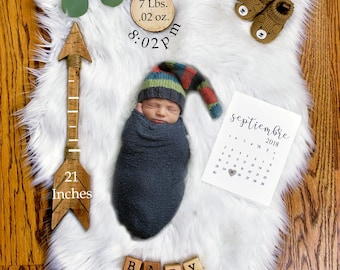 Baby Birth Stats Announcement - Newborn Printable Photography