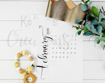 "February 2019 Pregnancy Calendar / 8"" x 11"" Pregnancy Reveal Calendar"