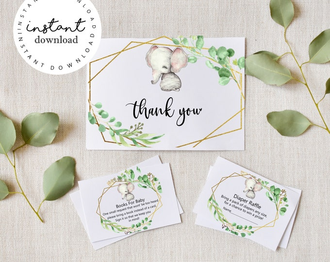 Greenery Elephant Boho Thank you Cards, Diaper Raffle Cards & Baby Books Cards