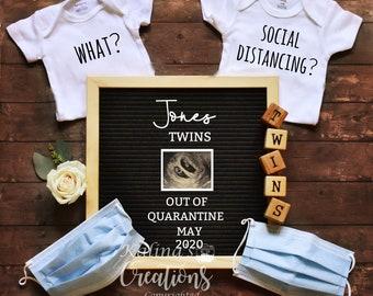 Quarantine Pregnancy Twins Announcement for Social Distancing