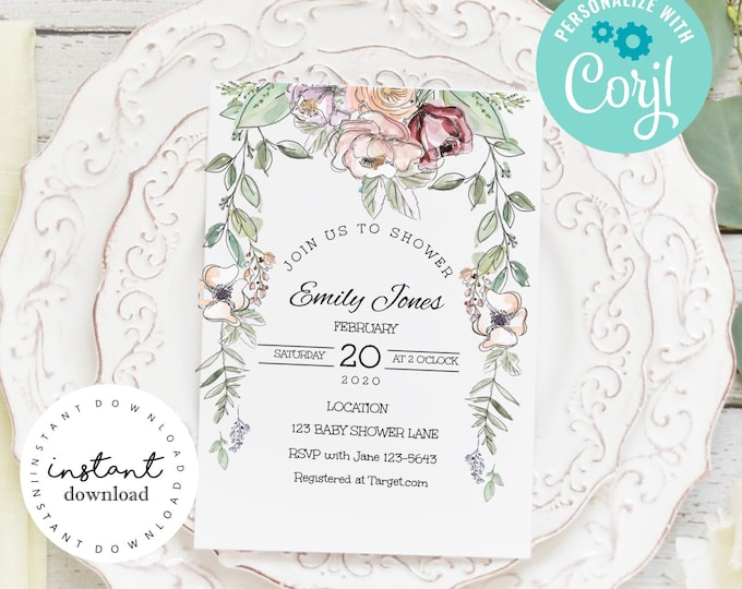 Pink Roses and Wild Flower Baby Shower Invite -baby shower invitation template