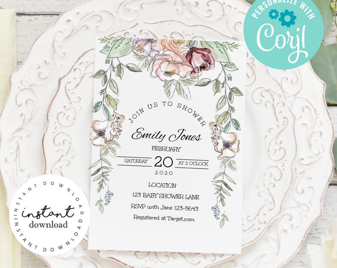 Pink Roses and Wild Flower Baby Shower Invite -