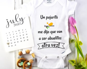 Spanish Baby Announcement / grandparents announcement / Bodysuit