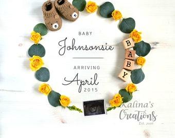 Yellow roses Pregnancy Announcement - Social Media