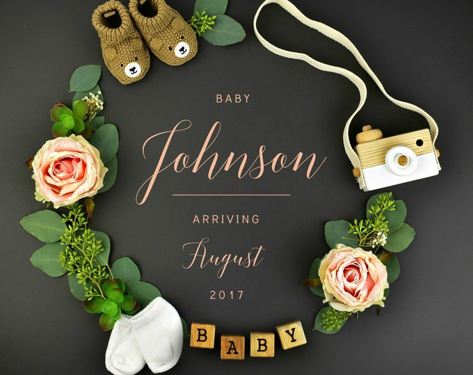Featured listing image: Girl Gender Digital Wreath Pregnancy Reveal