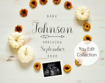 Fall Autumn Pumpkin Baby Announcement Social Media Announce