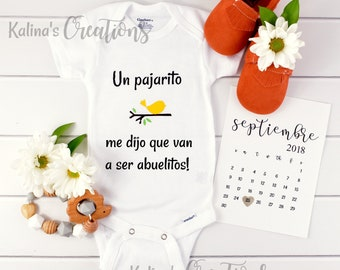 Baby Announcement Spanish / Pregnancy Reveal / new grandparents  / bodysuit Spanish / pregnancy reveal / announcement / organic onesi