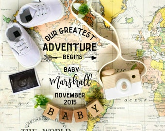 New Baby Travel Adventure Pregnancy Announcement for Social Media Announce
