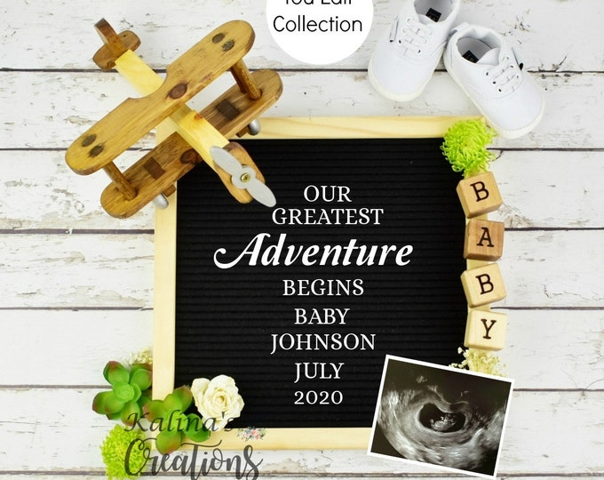 Airplane Greatest Adventure Pregnancy Announcement for Social Media Announce