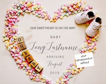 Valentines Candy Baby Announcement for Social Media