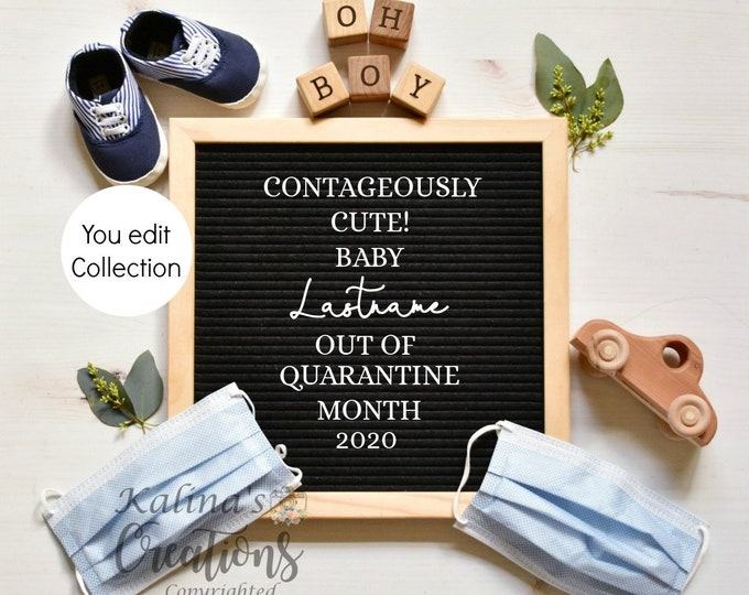 Quaranting Pregnancy Baby Boy Gender Reveal Template - Social Distancing