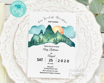 Woodland Adventure Baby Shower Invitation template - Gender Neutral, KC18