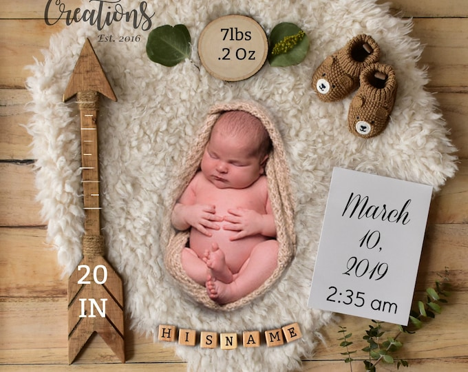 Birth Announcement Card Boy - Photo Announcement Printable