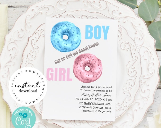 Donut Gender Reveal Party Invite -   boy or girl gender reveal invites digital