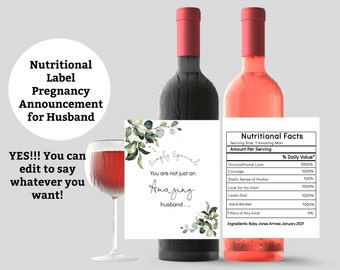 Pregnancy Announcement to Husband Wine Label
