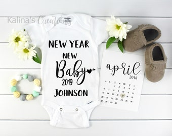 New Years Baby Onesie / Custom Baby Onesie / Personalized baby custom / baby announcement onesie / pregnancy reveal / new baby 2019