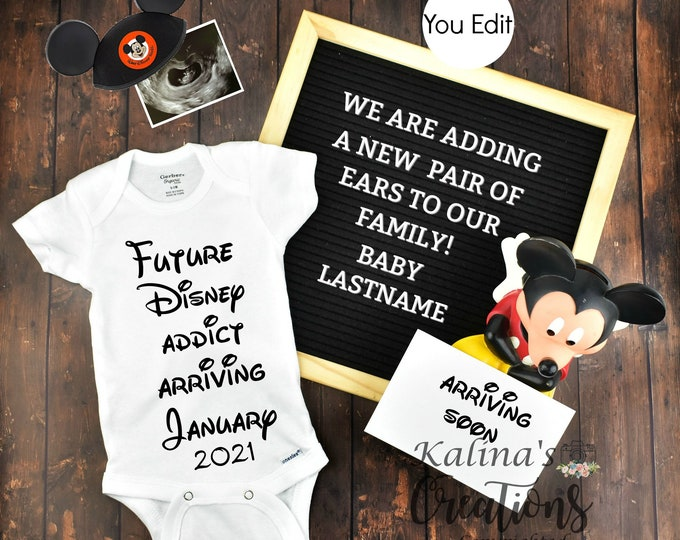 Disney Baby Pregnancy Announcement for Social Media Announce Template