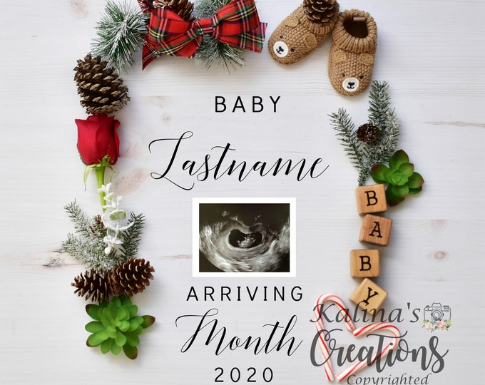 Reserved Custom Christmas Pregnancy Announcement for Social Media Announce