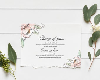 Change of Plans Baby Shower Note Flowers Ferns, baby shower invitation template