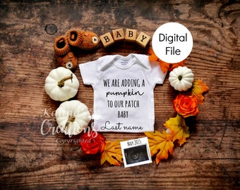 Fall Autumn Baby Announcement Reveal for Social Media Announce - Thanksgiving
