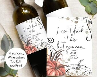 Pregnancy Announcement Wine Label Thanksgiving