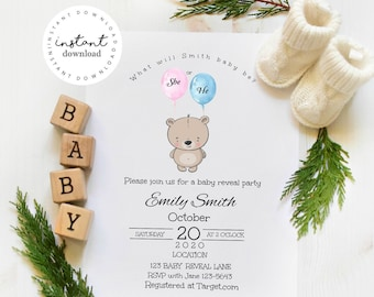 Gender Reveal Party Invite - baby shower invitation template