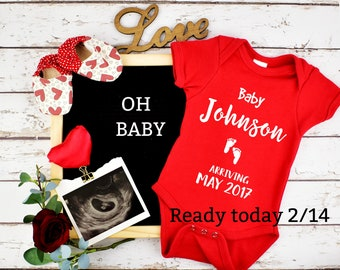 Valentines Custom Pregnancy Announcement for Social Media