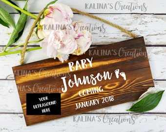 Wood Sign Digital Pregnancy Announcement / Personalized
