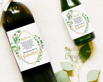 Godmother Wine Label - Godparents Wine Label Pregnancy Announcement