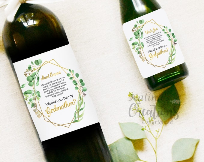 Godmother Wine Label - Godparents Wine Label Pregnancy Announcement
