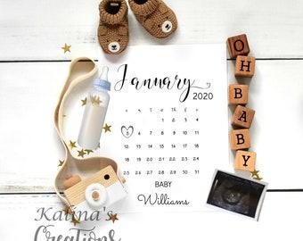 January 2020 Calendar Pregnancy Announcement for social media