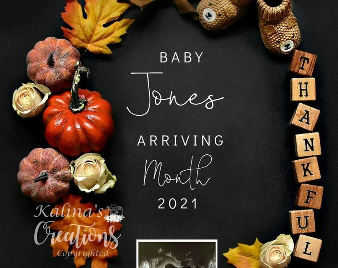Thanksgiving 2020 Baby Announcement Reveal for Social Media Announce