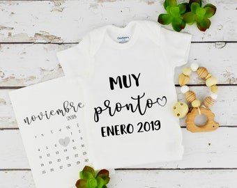 Baby Announcement Spanish / Pregnancy calendar / Bodysuit