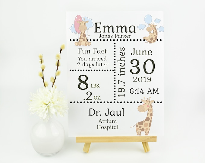 Birth Stats Announce 8 x 11 You Print All About Jiraffe