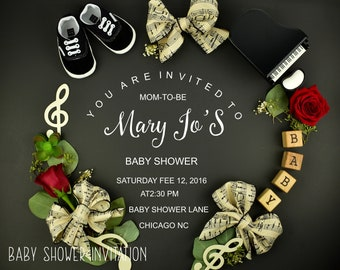 Musical Note Baby Shower invitation
