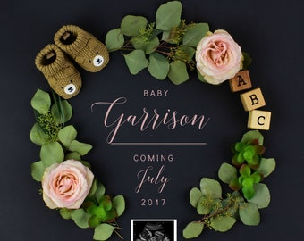 Girl Gender Digital Wreath Pregnancy Reveal