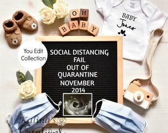 Quarantine Pregnancy Announcement Template -Social Distancing
