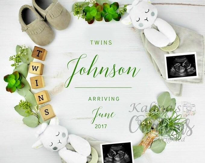 Twins Pregnancy Announcement for Social Media Announce