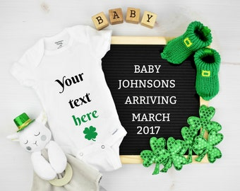 Digital St Patrick's Day Baby Announcement for Social Media