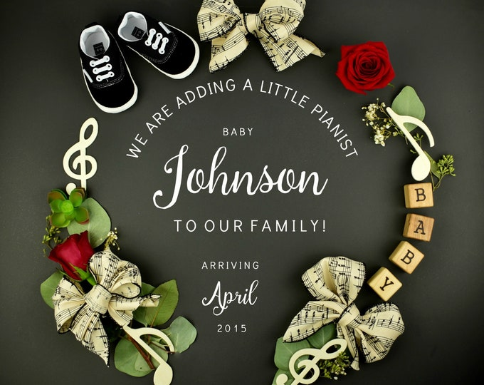 Featured listing image: Musical Baby Reveal to Grandparents Printable or for Social Media