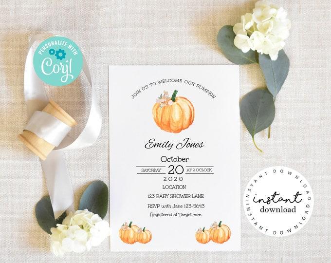 Pumpkin Invite - Harvest Invitation, baby shower invitation template