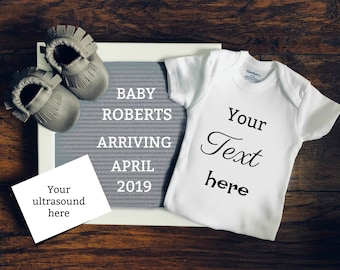 Digital Pregnancy Announcement / girl gender reveal / letter board / message board
